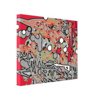 赤い及び灰色の抽象的概念の芸術 キャンバスプリント