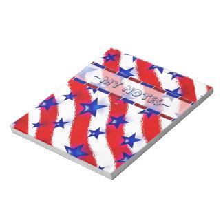 赤い及び白のストライプ上の波状の愛国心が強いブルースター ノートパッド