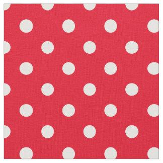 赤い及び白|の生地に点を打ちます ファブリック