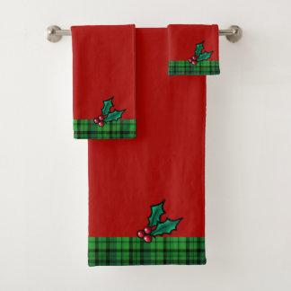 赤い及び緑のクリスマスの格子縞およびヒイラギタオルセット バスタオルセット