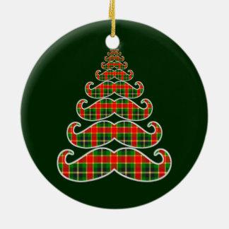 赤い及び緑の格子縞の髭のクリスマスツリーのオーナメント セラミックオーナメント