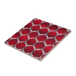 赤い及び金属銀製の八角形パターン タイル