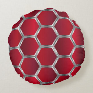 赤い及び金属銀製の幾何学的なパターン ラウンドクッション