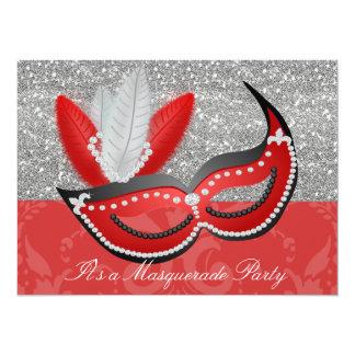 赤い及び銀製のきらきら光るな仮面舞踏会のパーティーのベニス風のマスク カード