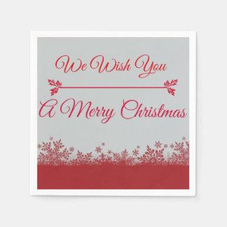 赤い及び銀製私達はメリークリスマスのナプキンを望みます スタンダードカクテルナプキン