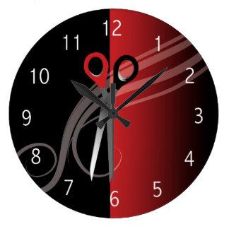 赤い及び黒髪のサロンの時計 ラージ壁時計