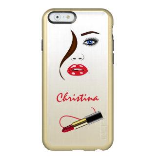 赤い口紅のキスの金ゴールドのiPhoneに6つの6Sカバー直面して下さい Incipio Feather Shine iPhone 6ケース