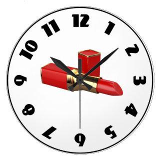 赤い口紅の時計 ラージ壁時計