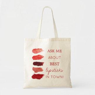 赤い口紅色の材料見本は昇進私に尋ねます トートバッグ