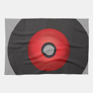 赤い古い学校のレコード キッチンタオル