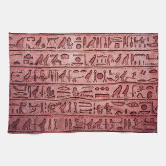 赤い古代エジプトのヒエログリフ キッチンタオル