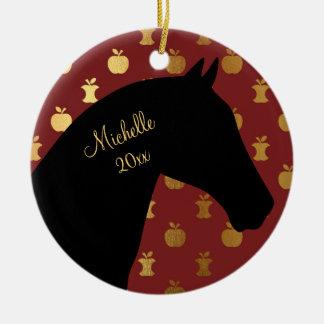 赤い名前入りなシルエットの馬の~金Apple セラミックオーナメント