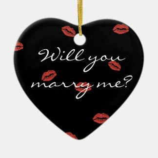 赤い唇のキス私とクリスマスのオーナメント結婚します セラミックオーナメント