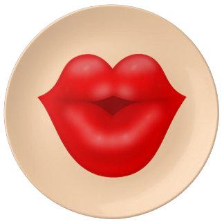 赤い唇の大きいキス 磁器プレート