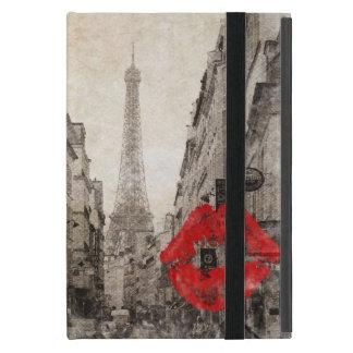 赤い唇はパリぼろぼろのシックなエッフェル塔に接吻します iPad MINI ケース
