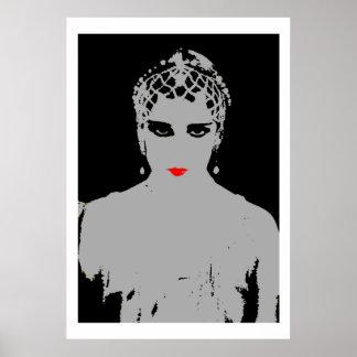 赤い唇を搭載する劇的な女性 ポスター
