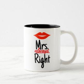 赤い唇を搭載するAlways Right夫人 ツートーンマグカップ