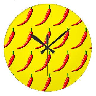 赤い唐辛子 ラージ壁時計