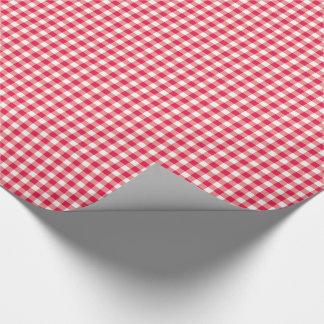 赤い国のギンガムの点検パターン ラッピングペーパー