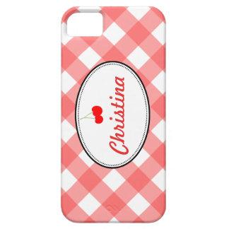 赤い国のギンガムパターン甘いさくらんぼのカスタム iPhone SE/5/5s ケース