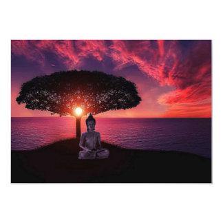 赤い夕べの空の仏 カード