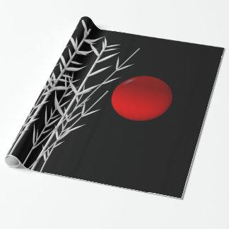赤い太陽の白黒の禅 ラッピングペーパー