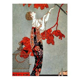 赤い夫人アールデコのデザイン ポストカード