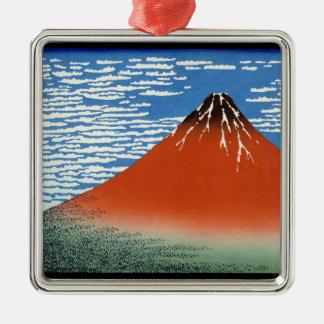 赤い富士の南風のゆとりの朝 メタルオーナメント