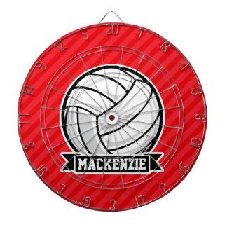 赤い対角線のバレーボールは縞で飾ります ダーツボード