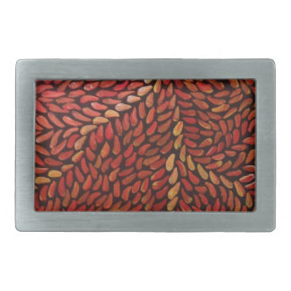 赤い小さい葉 長方形ベルトバックル