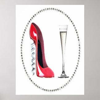 赤い小剣の靴およびシャンペンフルート ポスター