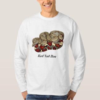 赤い尾ボアの基本的な長袖 Tシャツ