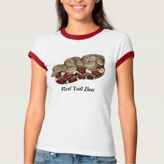 赤い尾ボアの女性信号器のTシャツ Tシャツ
