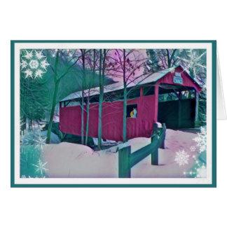 赤い屋根付橋の挨拶状 カード
