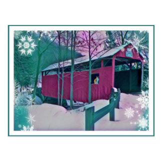 赤い屋根付橋の郵便はがき ポストカード