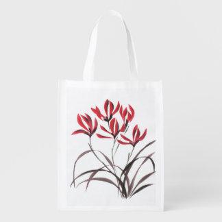 赤い山の花 エコバッグ