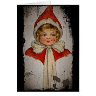 赤い岬の小妖精や小人の女の子 カード