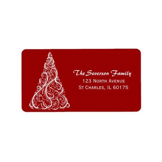 赤い差出人住所のホワイトクリスマスの木 ラベル