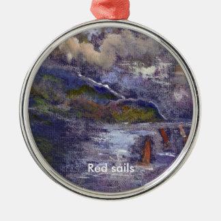 赤い帆、オーナメント シルバーカラー丸型オーナメント
