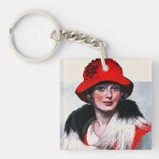 赤い帽子の女性 キーホルダー