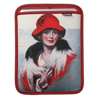 赤い帽子の女性 iPadスリーブ