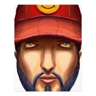 赤い帽子の黄色のスマイリーの髭がある人 レターヘッド