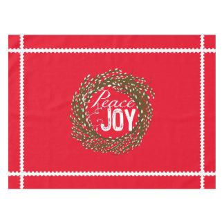 赤い平和喜びのネコヤナギのリースのテーブルクロス テーブルクロス