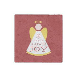 赤い平和愛喜びの休日の天使 ストーンマグネット