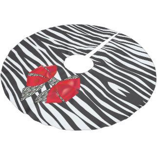 赤い弓が付いているおもしろいのファンタジーのシマウマのプリント ブラッシュドポリエステルツリースカート