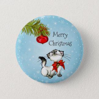 赤い弓が付いているよくはしゃぐなメリークリスマスの子猫 5.7CM 丸型バッジ