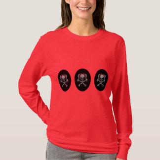 赤い弓が付いているポニーテールのスカルのデカール Tシャツ