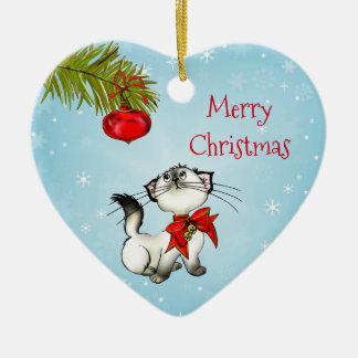赤い弓が付いている好奇心が強いクリスマスの子猫 セラミックオーナメント