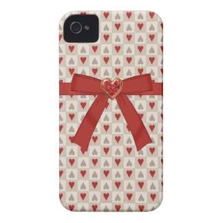 赤い弓及び赤いハートの宝石のiPhone 4/4Sの箱 Case-Mate iPhone 4 ケース