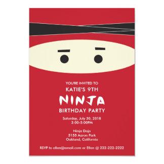 赤い忍者の誕生日のパーティの招待状 カード